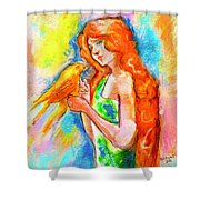 Lady With Canary Shower Curtain