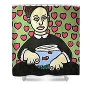 Lady With Fish Bowl Shower Curtain