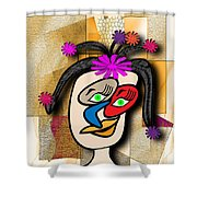 Lady With Flowers In Her Hair Shower Curtain
