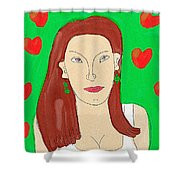 Lady With Green Earrings. Shower Curtain