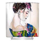 Lady With Kimono Shower Curtain
