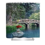 Lady With Parasol In Boat Shower Curtain
