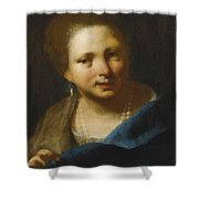 Lady With Pearls Shower Curtain