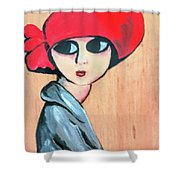 Lady With Red Hat Shower Curtain