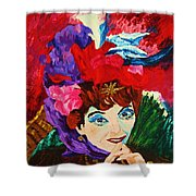 Lady With The Red Hat Shower Curtain