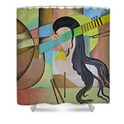 Lady  With Veena  Shower Curtain