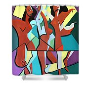 Ladys In Red Shower Curtain