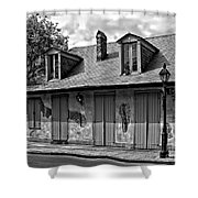 Lafittes Blacksmith Shop Bar In Black And White Shower Curtain