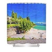 Lago Di Garda Beach In Sirmione View Shower Curtain