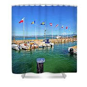 Lago Di Garda Harbor In Sirmione View Shower Curtain