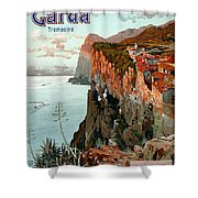 Lago Di Garda Lake Garda Vintage Poster Shower Curtain