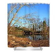Lake And Trees In Early Spring Shower Curtain