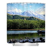 Lake And Volcano Shower Curtain