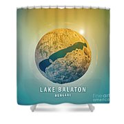Lake Balaton 3d Little Planet 360-degree Sphere Panorama Shower Curtain