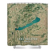 Lake Balaton 3d Render Satellite View Topographic Map Shower Curtain