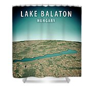 Lake Balaton 3d Render Satellite View Topographic Map Vertical Shower Curtain
