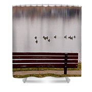 Lake Bench Shower Curtain