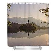 Lake Bled At Sunrise Shower Curtain