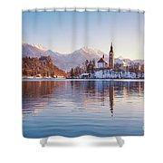 Lake Bled Winter Sunrise Shower Curtain