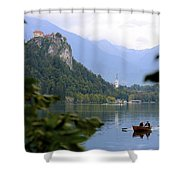 Lake Bled With Row Boat Shower Curtain