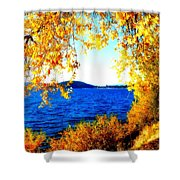 Lake Coeur D'alene Through Golden Leaves Shower Curtain
