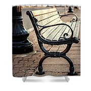 Lake Erie Bench At Sunset Shower Curtain
