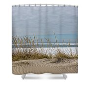 Lake Erie Ice Blanket With Sand Dunes And Dry Grass Shower Curtain