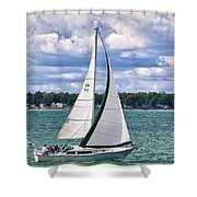 Lake Erie Sailing 8092h Shower Curtain