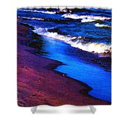 Lake Erie Shore Abstract Shower Curtain