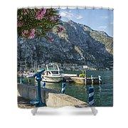 Lake Garda Harbour Of Limone Sul Garda Shower Curtain