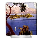 Lake Garda Vintage Poster Restored Shower Curtain