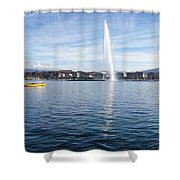 Lake Geneva Switzerland With Water Fountain And Water Taxi On A  Shower Curtain