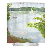 Lake Harriet With Sailboat And Angler Shower Curtain