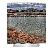 Lake Hefner Dock Shower Curtain