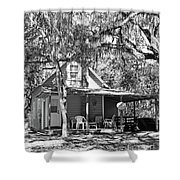 Lake House Black And White Shower Curtain