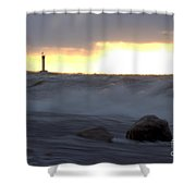 Lake Huron Arctic  Blast Shower Curtain
