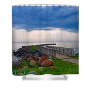Lake Huron Michigan Shower Curtain