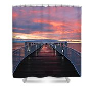 Lake Huron Pier Shower Curtain