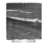 Lake Huron Windy Day 4 Bw Shower Curtain