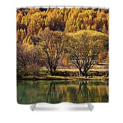 Lake In Autumn - 3 - French Alps Shower Curtain