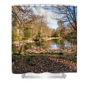 Lake In Early Springtime Woodland Shower Curtain