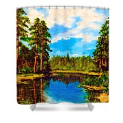 Lake In The Forest  Shower Curtain