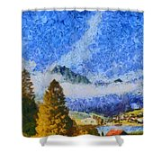 Lake In The Middle Of Swiss Beauty Shower Curtain