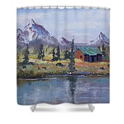 Lake Jenny Cabin Grand Tetons Shower Curtain