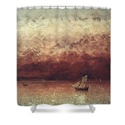 Lake Leman With Setting Sun Shower Curtain by Gustave Courbet