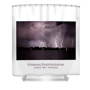 Lake Lightning 2 Poster Shower Curtain