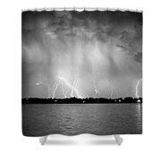 Lake Lightning Bw Shower Curtain