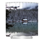 Lake Louise Boathouse Shower Curtain