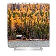 Lake Mcdonald Boatshed Shower Curtain