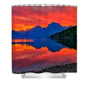 Lake Mcdonald Fiery Sunrise Shower Curtain